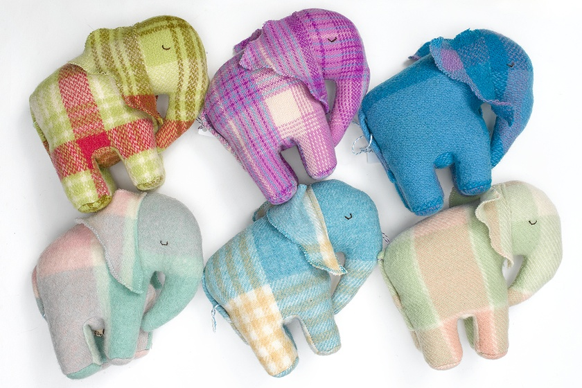Vintage Blanket  Elephant Toy  Assorted colours