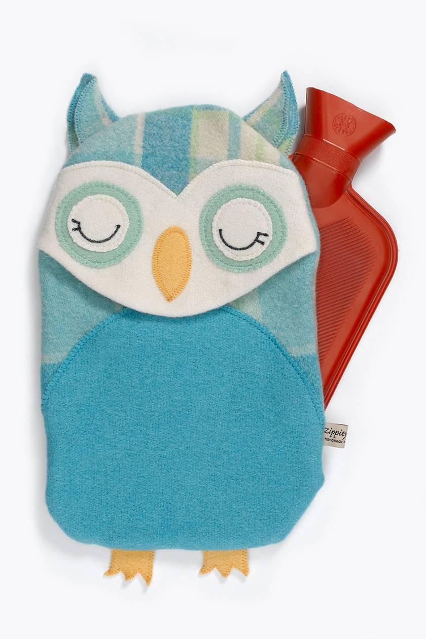 Vintage Owl Hottie Cover -Azure Ruru