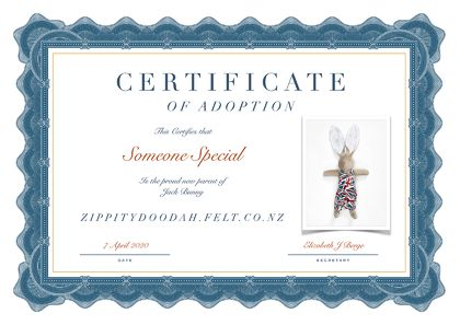 Personalised Adoption Certificate - Velveteen rabbit