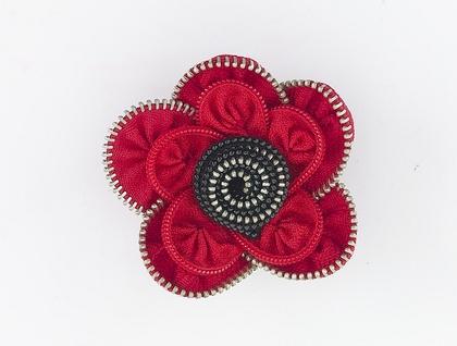 Red/Black Flower brooch ZippityDooDah