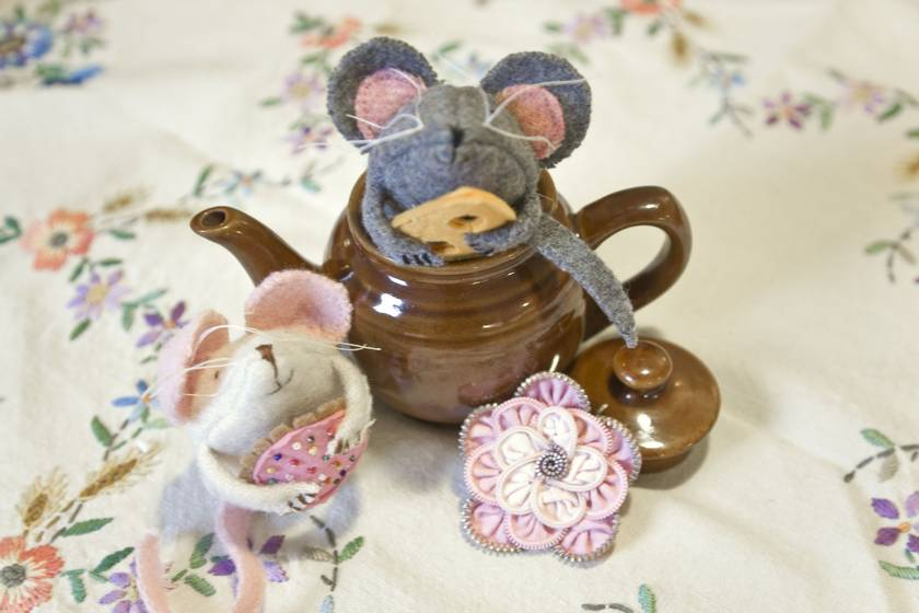Maddy Mouse Softie made from Vintage blanket