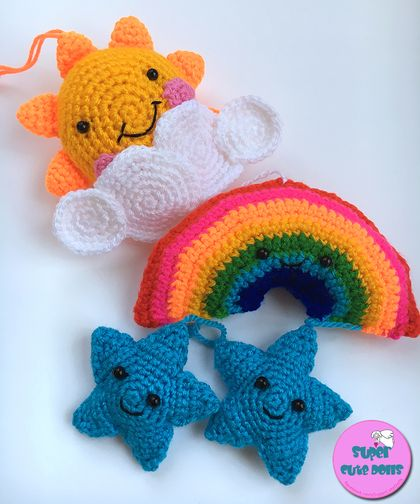 Crochet Sun Stars and Rainbow Wall hanging/Mobile