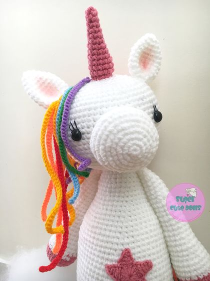 Crochet Large Unicorn, 56cm tall! Made to order only