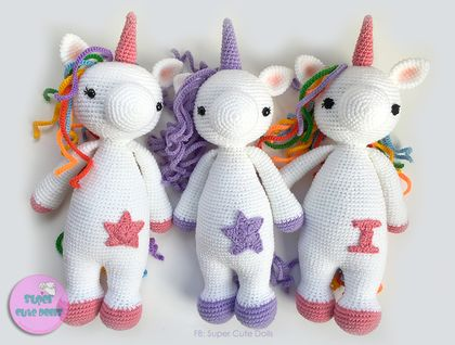 Crochet Unicorn, 43cm tall. Made to order only