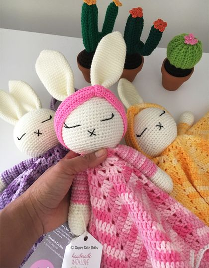 Crochet Large Bunny Taggie/Cuddle Blanket