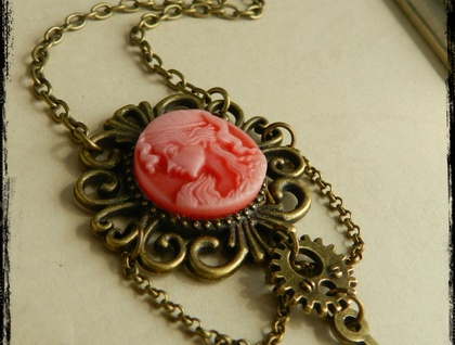 Beautiful Steampunk Red Victorian Lady Necklace