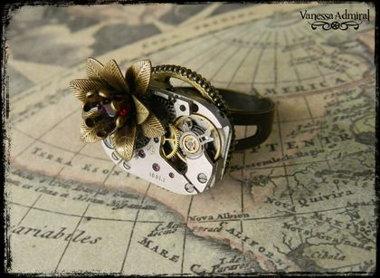 Steampunk Vintage Rose Watch Movement Ring