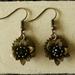 Steampunk Black Rose Gear Earrings