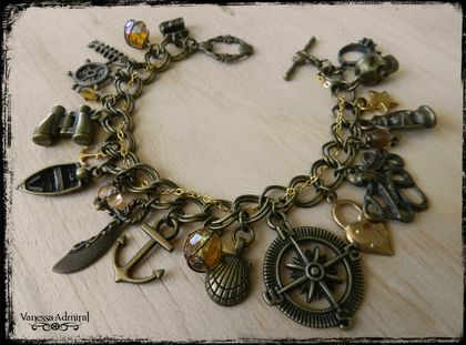 Pirate Themed Vintage Style Charm Bracelet