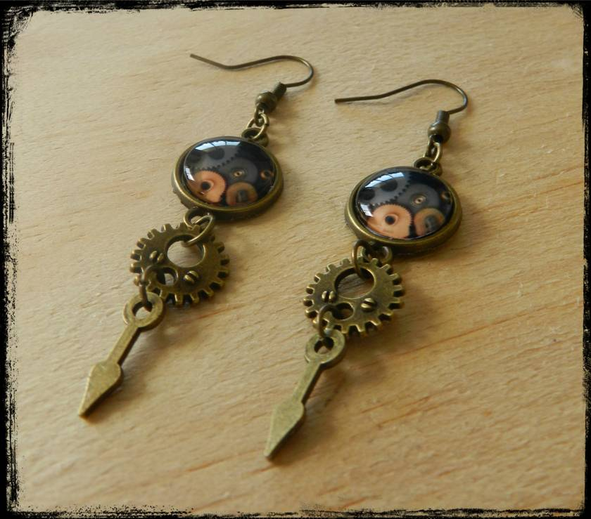 Steampunk Bronze Gear Earrings