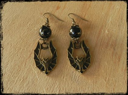 Gorgeous Gothic Vintage Bat Earrings
