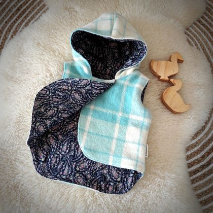 Hooded Wool Vest 6-12mth Mint & Navy (SALE)