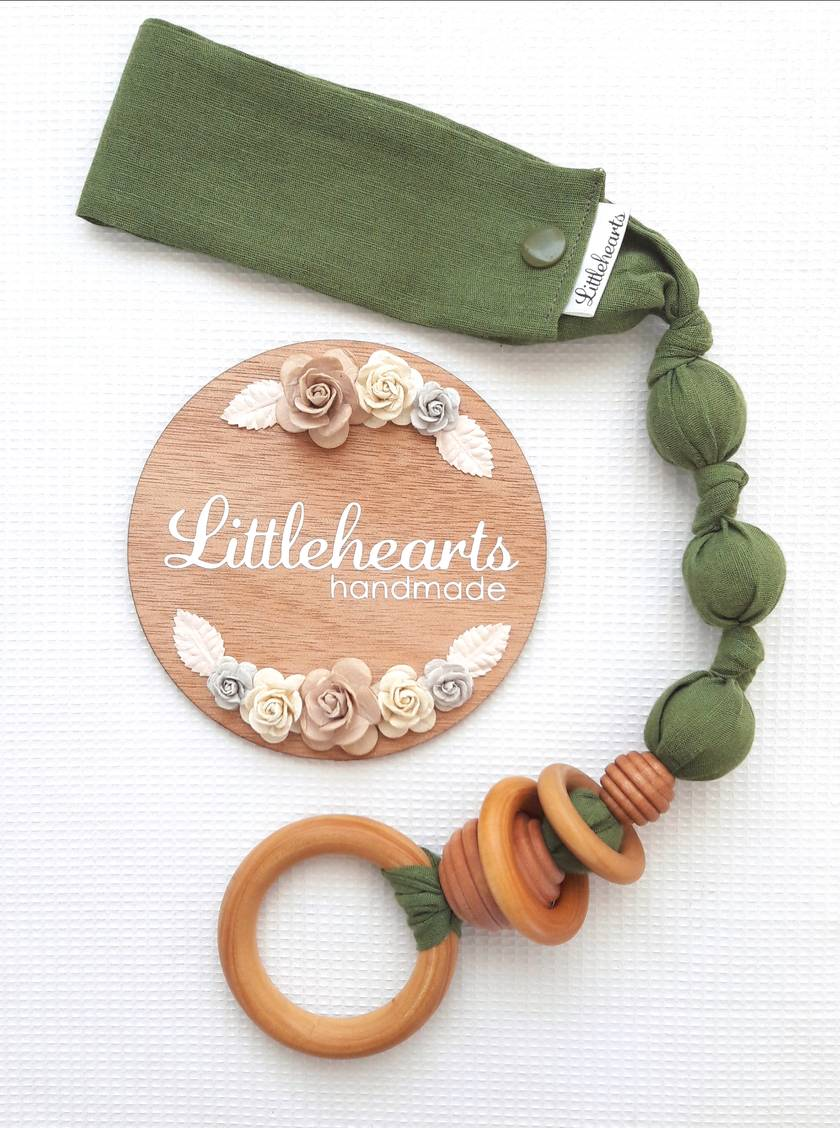 Snap-on Organic Wooden Teething Ring with Wooden Beads