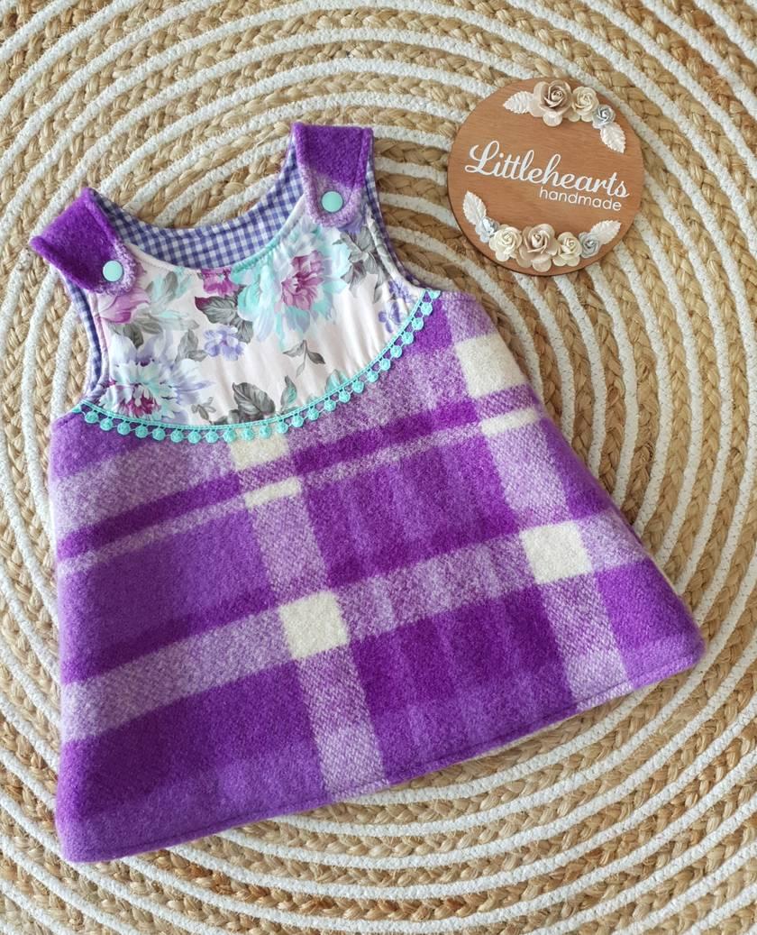 Pinny Style Wool Dress- Size 6-12m