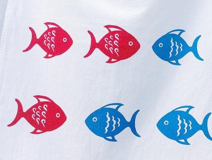 Tea Towel - Red Fish, Blue Fish