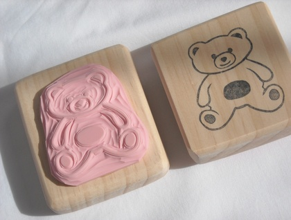 Hand Carved Rubber Stamp - Teddy Bear