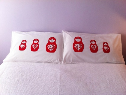 Pair of Handprinted Pillowcases