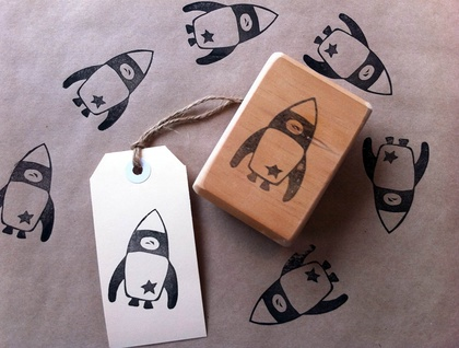 Hand Carved Rubber Stamp - Rocket