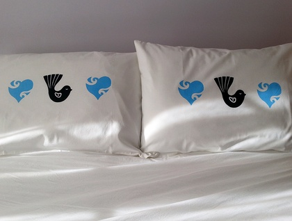 Pair of Handprinted Pillowcases - Fantail with Blue Heart