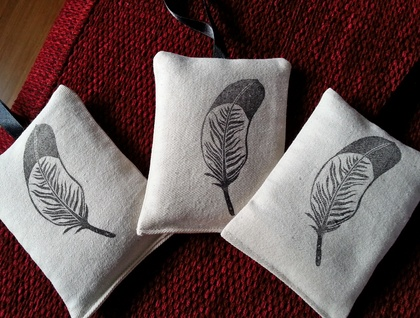 Hand Printed Lavender Bag - Feather