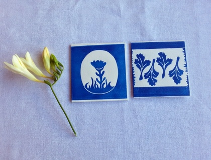 Set of 4 Handprinted Spring Gift Cards - Lino cuts