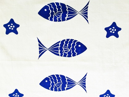Tea Towel - NEW DESIGN  Blue Fish