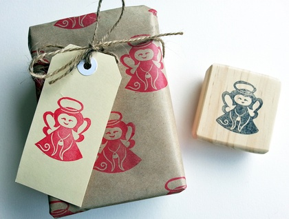 Make your own gift tags - Hand carved Angel stamp with 12 tags