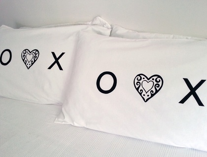 Pair of Handprinted Pillowcases - Love, Hugs & Kisses