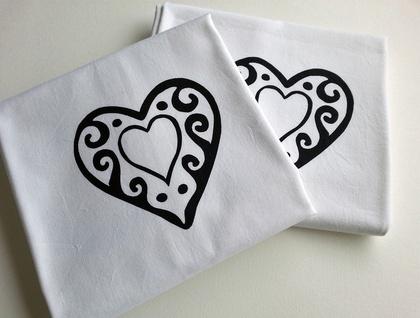Pair of Handprinted Pillowcases - Love, Hugs & Kisses
