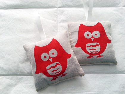 Hand Printed Lavender Bag - Little Owl