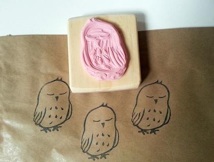 Hand Carved Rubber Stamp - Sleepy Baby Ruru (Morepork)