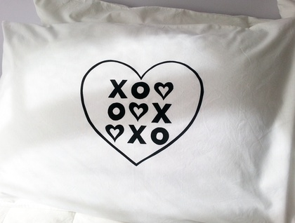 "Pair of Handprinted Pillowcases - ""Love Wins Every Time"""