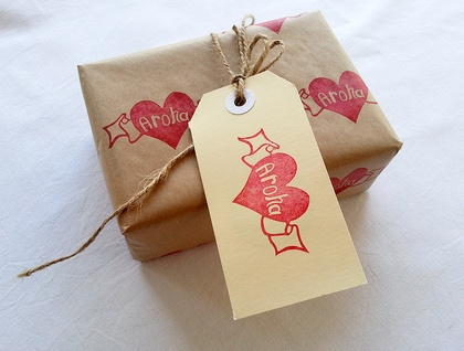 Hand Carved Rubber Stamp - Aroha