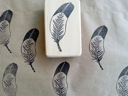Hand carved feather stamp