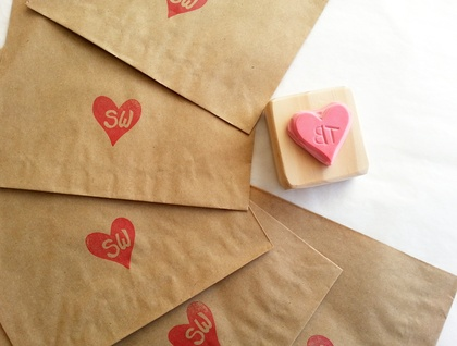 Small Custom made Hand Carved Rubber Stamp - Love Heart and your initials