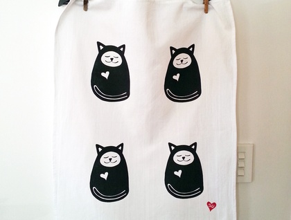 Handprinted Tea Towel - Sleepy Cat