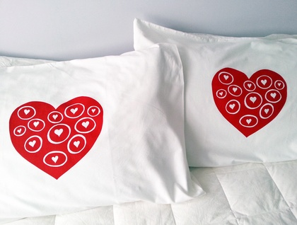 "Pair of Handprinted Pillowcases - ""Love Bubbles"""