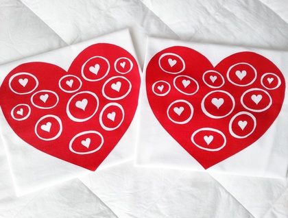 """Pair of Handprinted Pillowcases - """"Love Bubbles"""""""