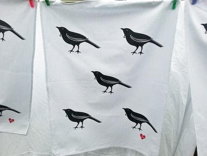 Handprinted Tea Towel - NZ Tui