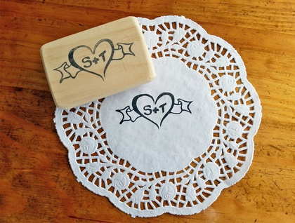 Custom made Hand Carved Rubber Stamp - Weddings, Anniversaries, Engagements