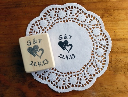Custom made Hand Carved Rubber Stamp - Weddings, Engagements, including the date