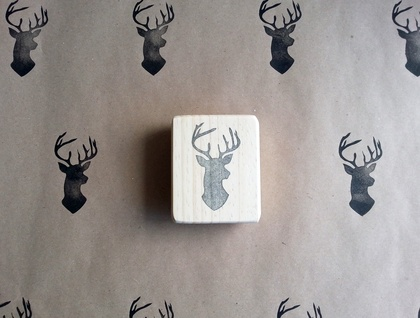 Hand Carved Rubber Stamp - Deer Silhouette