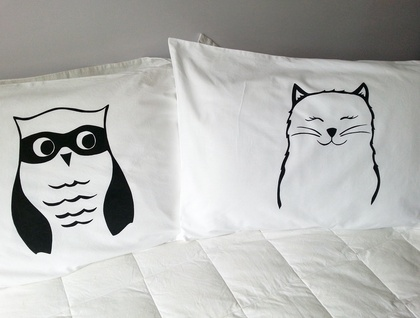 Pair of Handprinted Pillowcases - The Owl and The Pussycat