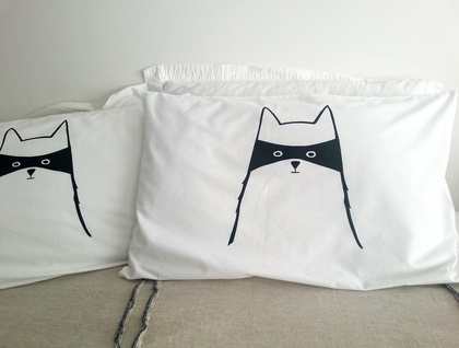 "Pair of Handprinted Pillowcases - ""Cat in Disguise"""