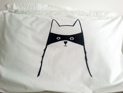 "Single Handprinted Pillowcase - ""Cat in Disguise"""