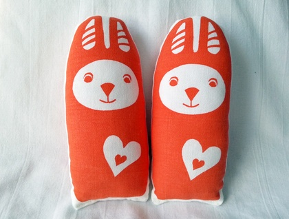 Handprinted Softie - Little Orange Rabbit