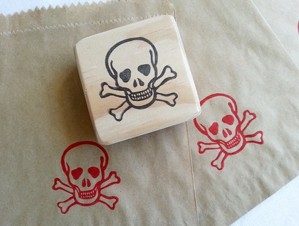Hand carved stamp - Skull and Cross Bones