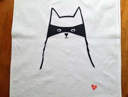 Handprinted Tea Towel - Cat in Disguise