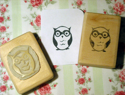 Hand Carved Stamp - Little Owl