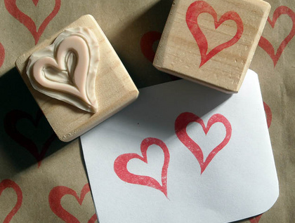 Hand Carved Stamp - Heart